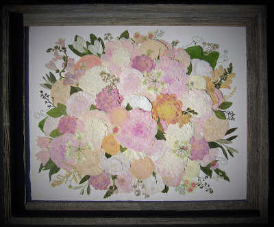 Pressed Flower Art created from a pastel, lush bridal bouquet