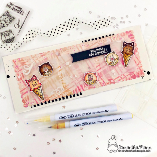 You Make Life Sweet Slimline Card by Samantha Mann | Cat Treats Stamp Set and Slimline Die Sets by Newton's Nook Designs