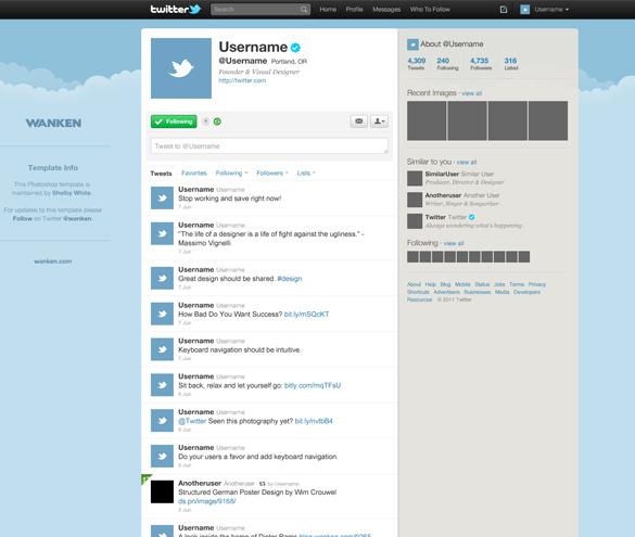 Twitter Webpage Template Design PSD Free Download - WEB DESIGN PSD
