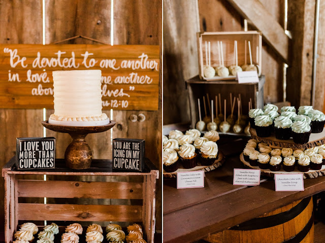 Gorgeous Cupcake Table at a Barn Wedding - A Cranberry and Blue Autumn Wedding at Worsell Manor in Warwick, MD by Heather Ryan Photography