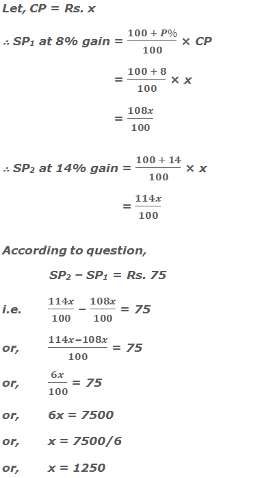 Let, CP = Rs. x ∴ SP1 at 8% gain = (100 + P%)/100 × CP      = (100 + 8)/100 × x      = 108x/100 ∴ SP2 at 14% gain = (100 + 14)/100 × x        = 114x/100 According to question, SP2 – SP1 = Rs. 75 i.e. 114x/100 – 108x/100 = 75  or,(114x-108x)/100 = 75 or,6x/100 = 75 or,6x = 7500 or,x = 7500/6 or,x = 1250