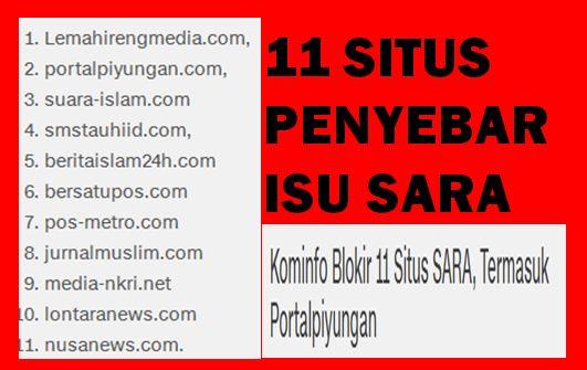 """Situs PKS Penebar Isu SARA """"Pos Metro dan Piyungan"""" Diblokir Sementara"""