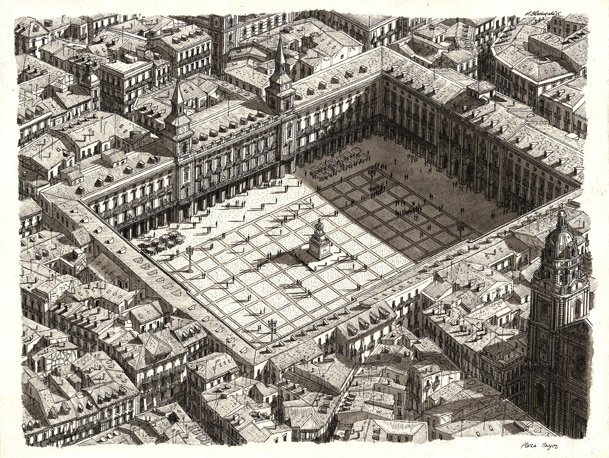 07-Plaza-Mayor-Stefan-Bleekrode-Detailed-Architectural-Drawing-from-the-Imagination-www-designstack-co