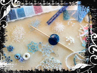 Work space with beads and inspiration - getting started