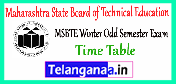 MSBTE Maharashtra State Board of Technical Education Winter Semester Exam Time Table 2017