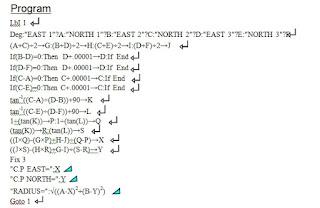 rumus kalkulator mencari Titik Pusat dan Jari-Jari Lingkaran dari 3 Koordinat