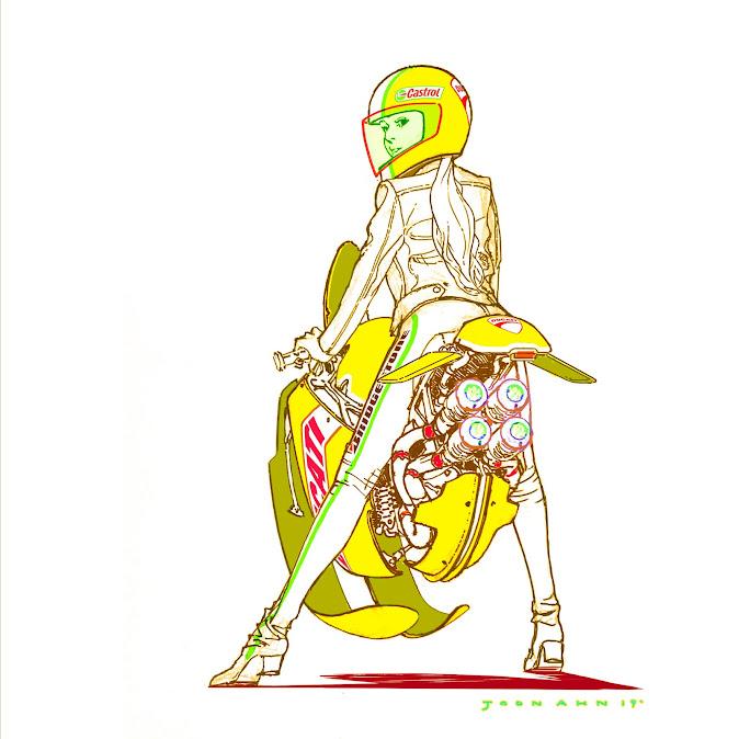 Hoverbike Girl - Illustration by Joon Ahn