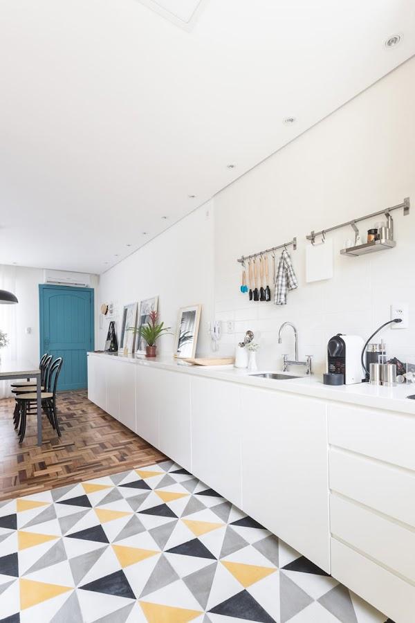 baldosa hidráulica geométrica cocina