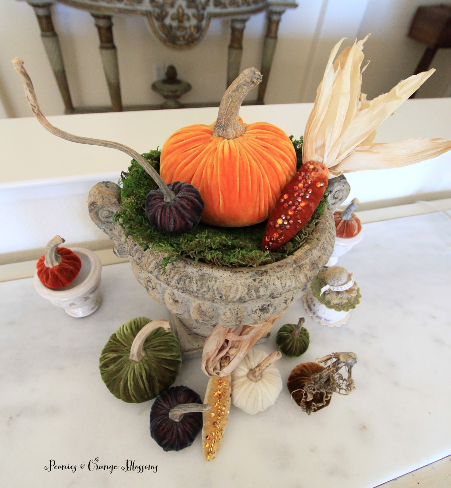 Decorate Shop Tigard Peonies And Orange Blossoms Decorating With Velvet Pumpkins And