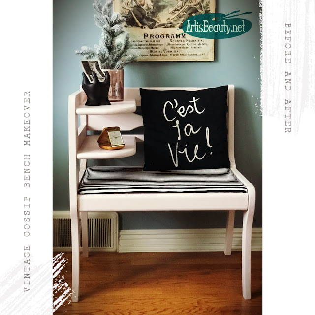 BEFORE AND AFTER VINTAGE GOSSIP BENCH MAKEOVER USING GENERAL FINISHES BALLET PINK MILK PAINT