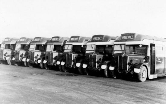 Photograph of Greenline buses converted into an American Medical Corps ambulance at North Mymms Park in the 1940s Image from Ron Kingdon