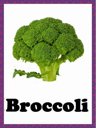 Kindergarten Worksheets Vegetables Flashcards Broccoli