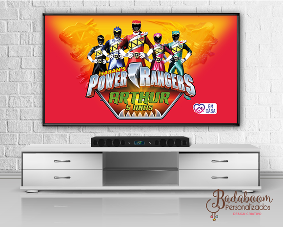 Power Rangers Dino Charge, Power Rangers, Festa no Rack, Painel TV, Painel Digital, Arte Digital, arte personalizada