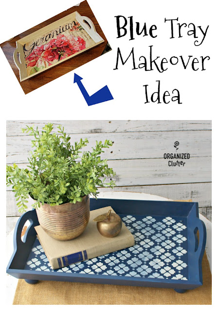 Free Tray Makeover in Blue #dixiebellepaint #bunkerhillblue #stencil #artmindsstencil #servingtray #upcycle