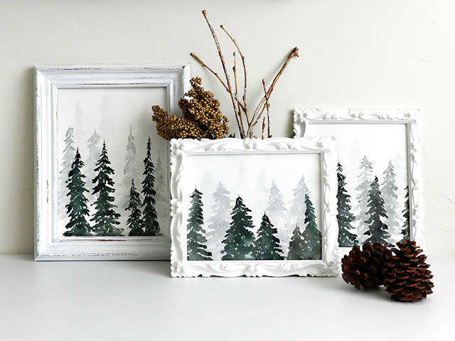 Winter Pine Forest Watercolor Paintings by Elise Engh