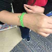 After the activity students made bracelets from their piece of yarn.