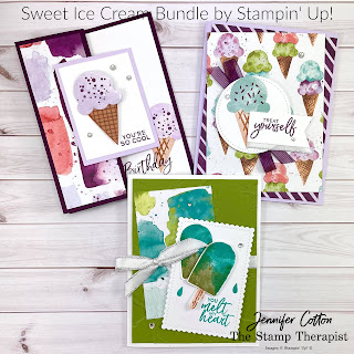 Sweet Ice Cream Bundle by Stampin' Up!.  I show how to make these three cards in my Facebook Live weekly video (link to same video on YouTube on the blog post).  #StampinUp #StampTherapist #SweetIceCream