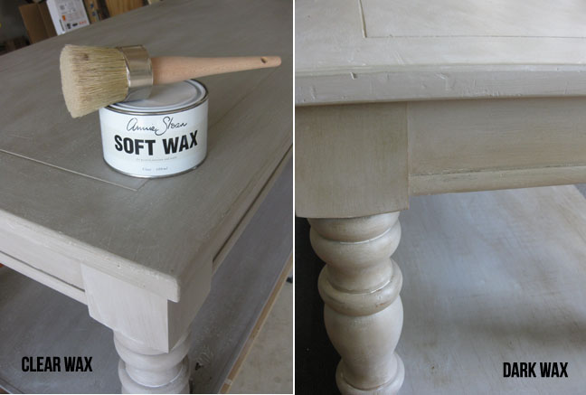 coffee table with white washed effect + clear and dark wax