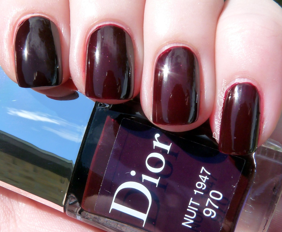 Dior Nuit 1947 Swatches And Comparison With Chanel Rouge Noir Pointless Cafe