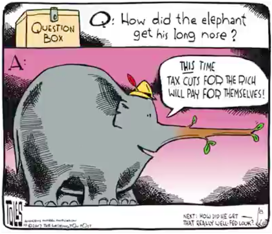 Question:  How did the GOP Elephant get his long nose?  Answer:  As GOP Elephant says,
