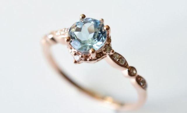 Non Diamond Engagement Rings Aquamarine