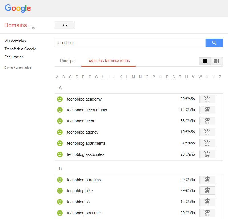 Google Domains - Terminaciones
