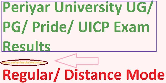 Periyar University Affiliated Colleges UG, PG Department Exam Results 2020 Online: periyaruniversity.ac.in
