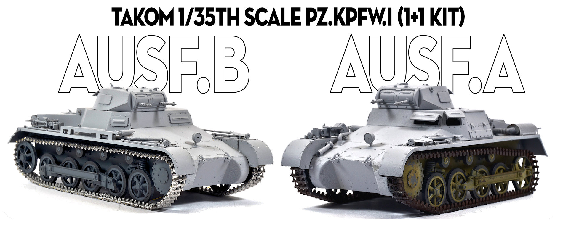 The Modelling News: Build Review Pt I: Pz.Kpfw.I Ausf.A & Pz.Kpfw.I Ausf.B ( 1+1 kit) in 35th scale from Takom.