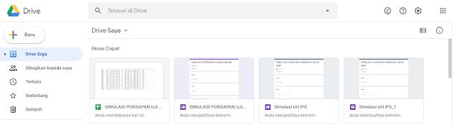 Tampilan Google Drive untuk Google Formulir