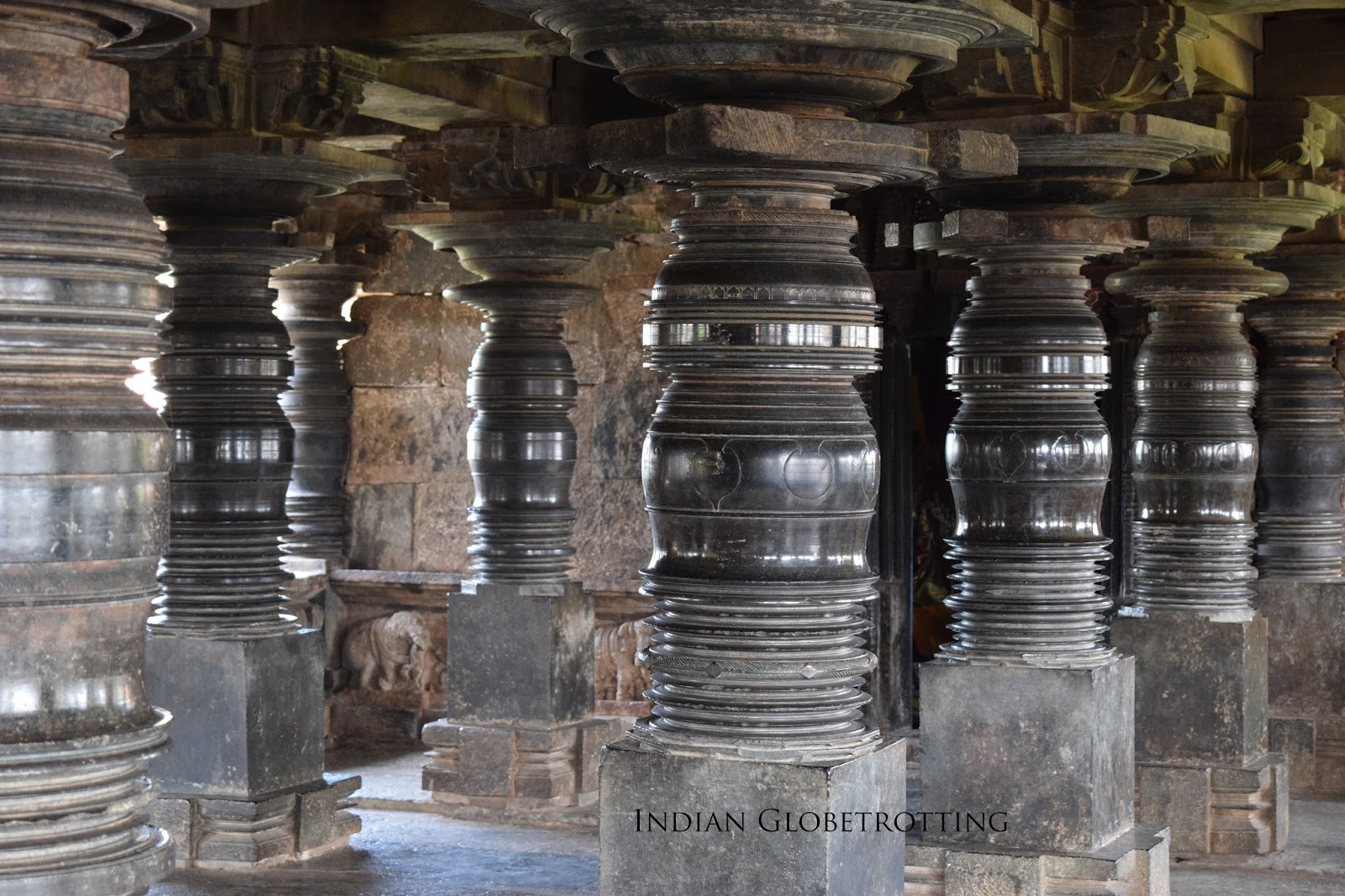 Smooth pillars of belavadi veeranarayana temple