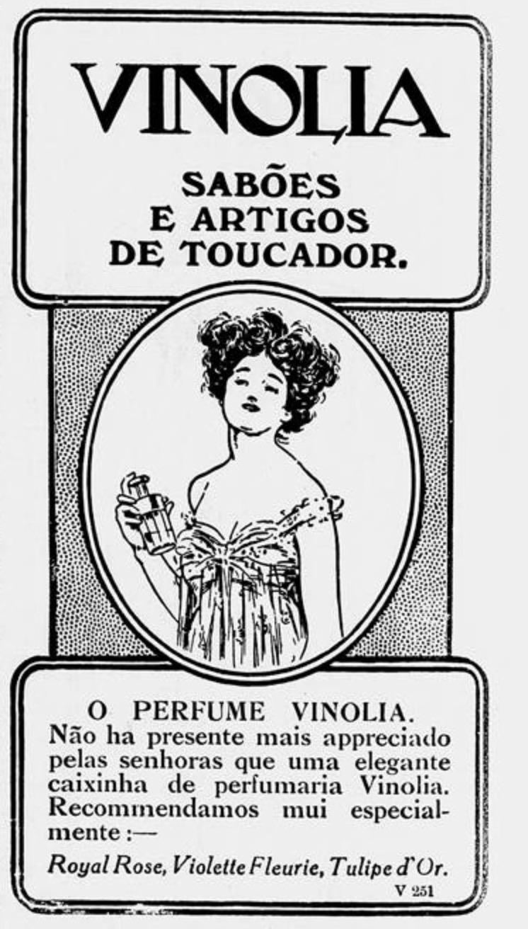 Propaganda antiga da Vinólia promovendo sua linha de cuidados com o banho em 1912