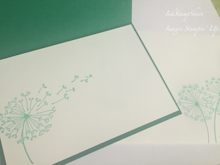 Dandelion Wishes card. stamped inside card. Coastal Cabana,