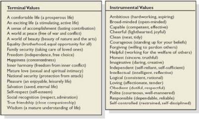 terminal values dan instrumental values