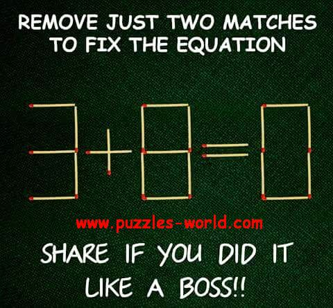 Remove just Two Matches to Fix the Equation.