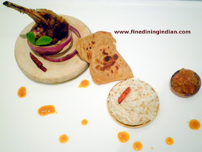 fine dining indian picture of lamb masala coconut rice paratha recipe