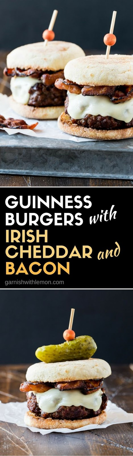 GUINNESS BURGER WITH IRISH CHEDDAR AND BACON