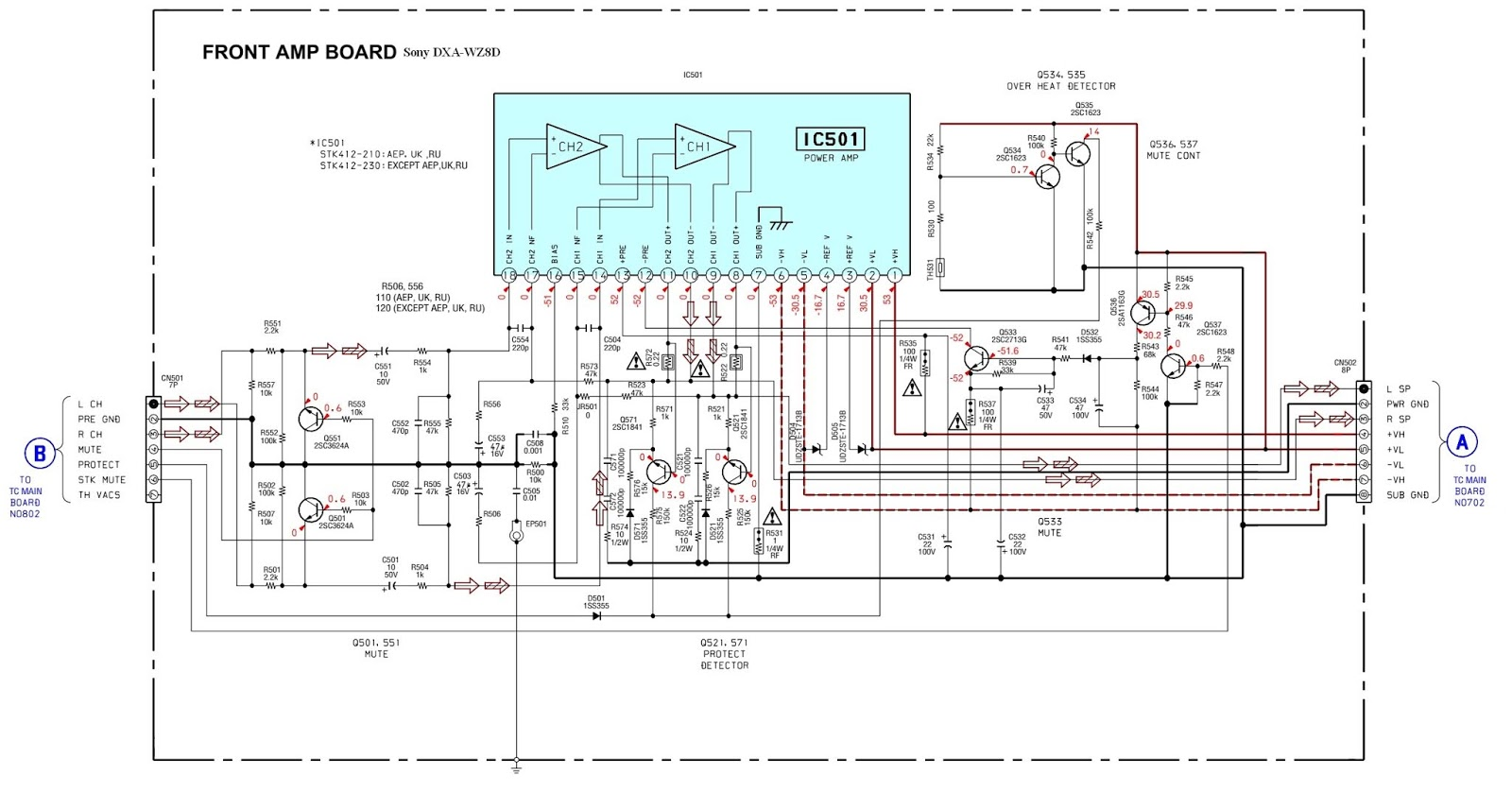 sony dxa wz8d front amplifier board circuit diagram [ 1600 x 838 Pixel ]