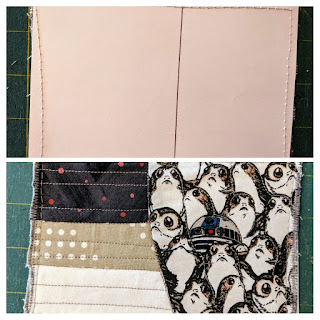 Two collaged photos show the cardboard back and the fabric front of the postcard. Half the front is a print with U2D2 hidden in a bunch of porgs. On the left are three parallel strips: dark grey, tan, and white.