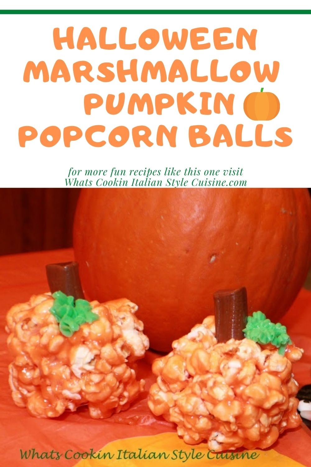 this is a pin for later how to make popcorn balls into pumpkins