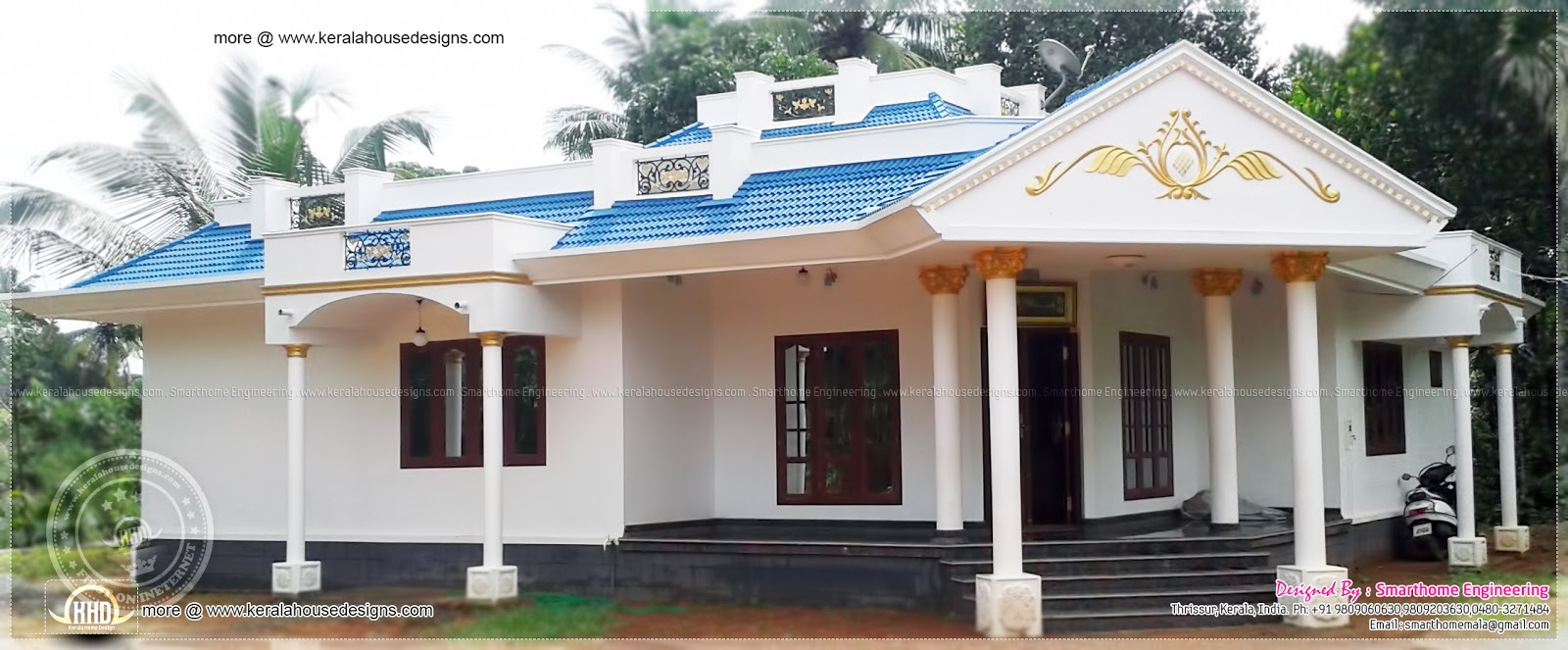 1680 sq ft 3 bedroom single floor house kerala home for Single storey 3 bedroom house plans in kerala