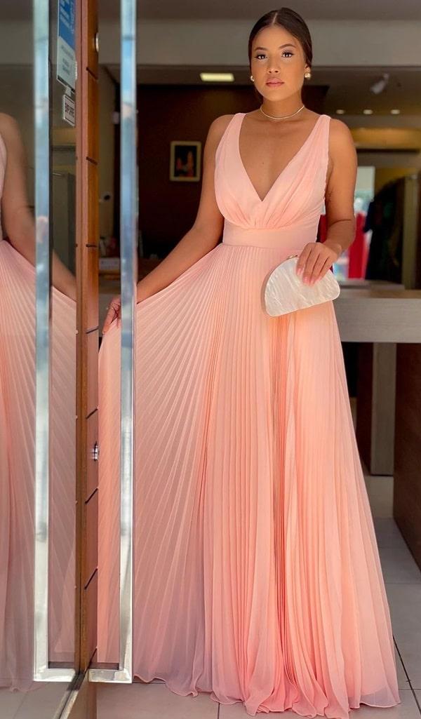 vestido longo rose plissado