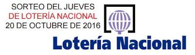 información de la loteria nacional del jueves 20 de octubre de 2016