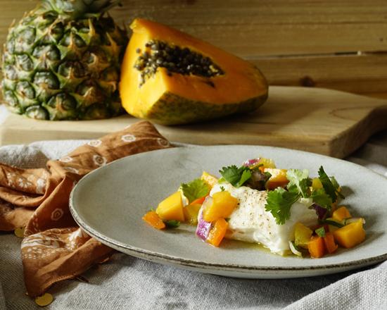 Halibut with Tropical Fruit Salsa