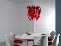 Unique red modern lighting design ideas for dining room pendant lamp