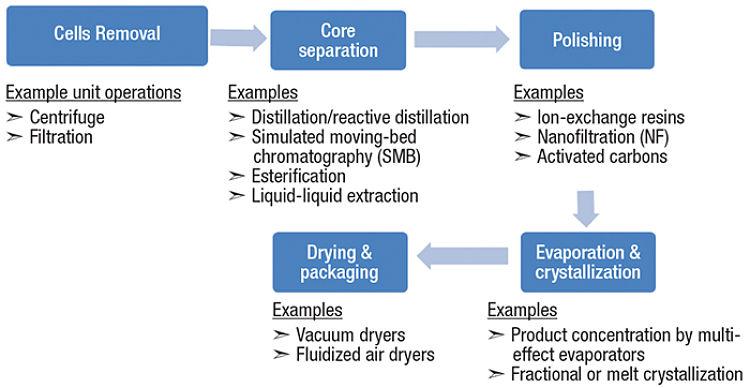 Esquema ilustrativo de algunas operaciones unitarias utilizadas en bioprocesamiento