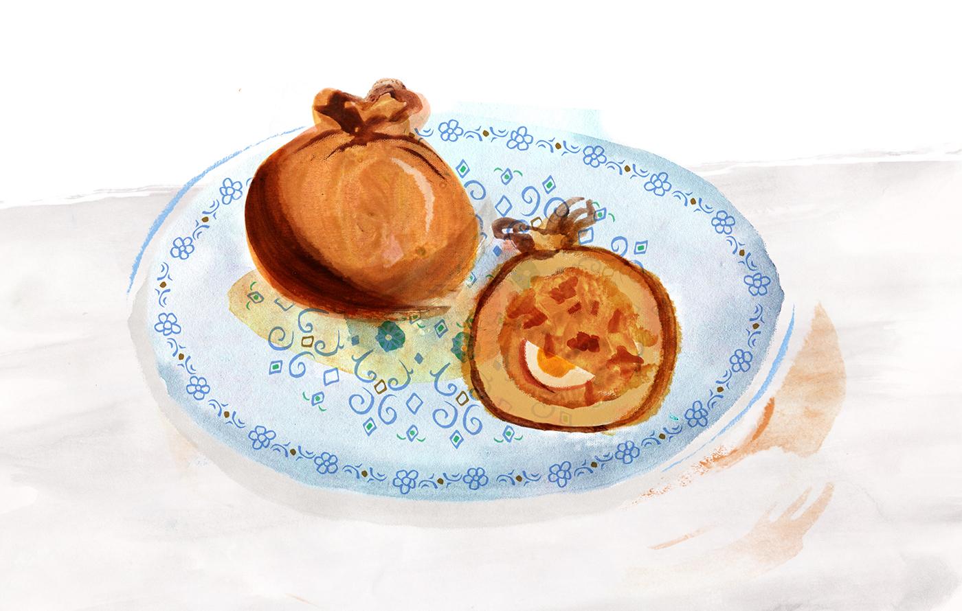Curry Puff Knish, Minty's Table, Lauren Monaco Illustration, Singapore, Jewish, JewAsian