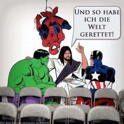 Witziges Comic Bild - Jesus und Superhelden unterhalten sich über Welt retten zum lachen