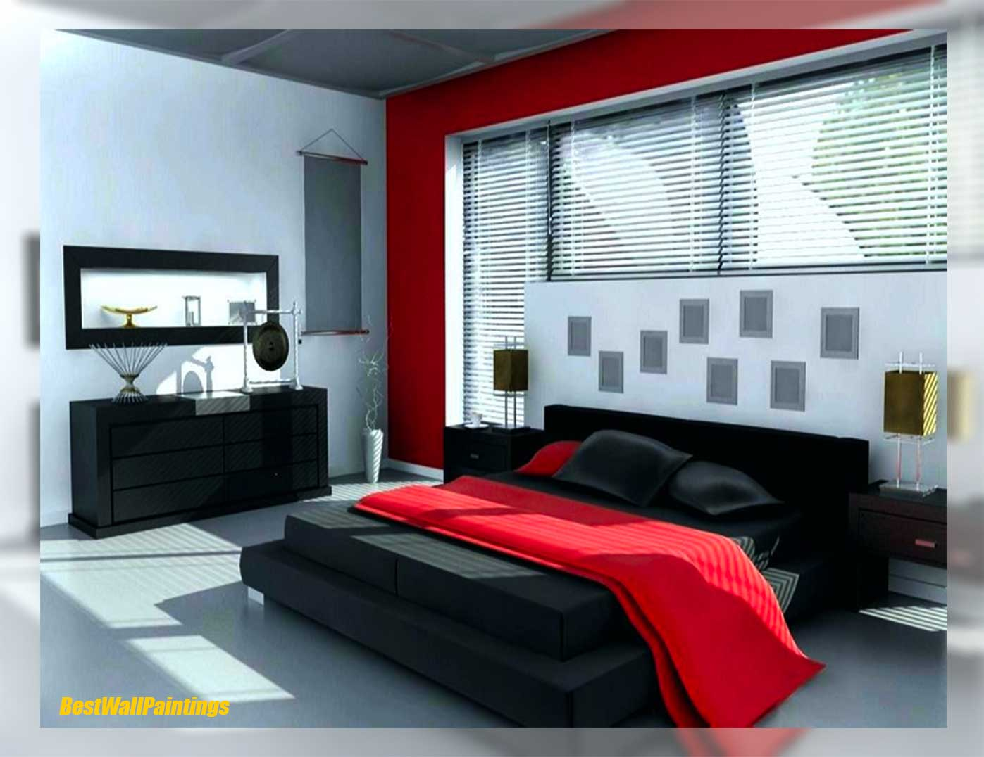 Red And Grey Bedroom Ideas