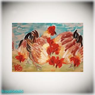 Πίνακας ζωγραφικής της καλλιτέχνιδος Krystyna (Chickens, ακρυλικό, 2019)