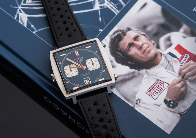 The Heuer Monaco worn by Steve McQueen for the 1971 film Le Mans, the most expensive Heuer wristwatch ever sold